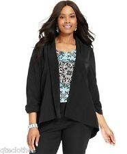 Alfani $109 NEW Sexy Black Open Front Hi-Lo Hem Blazer Jacket Plus 3X QCO