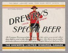 Drewrys Winnipeg (Rice Beer) Special Beer Label - pic Mountie, RCMP