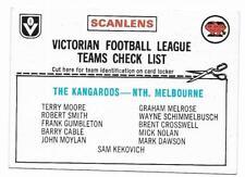 1976 Scanlens Checklist NORTH MELBOURNE Excellent UNMARKED