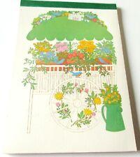 Vintage Stationery Letter Pad Sangamon Flower Cart Florist w Blue Birds Umbrella