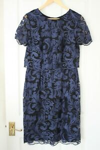 Phase Eight ~ Blue & Black Lace Dress ~ Size 12