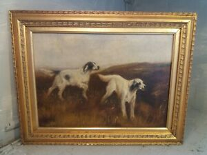 Antique Oil Painting , one of pair , Dogs