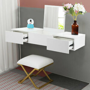 Floating Dressing Table White Vanity Wall Mounted Makeup Desk 2 Storage Drawers