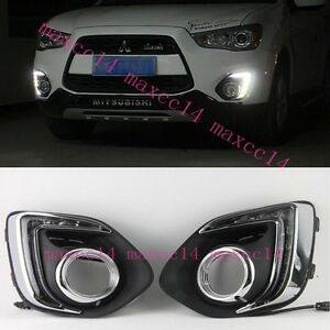White LED Daytime Day Fog Light DRL Run lamp For Mitsubishi Outlander Sport 2013