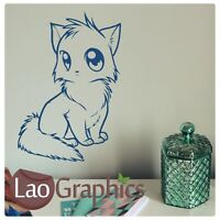 Manga Style Cat Wall Art Sticker Large Vinyl Transfer Graphic Decal Home Decor