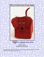 Dachshund Dog 3-D Tissue Topper-Plastic Canvas Pattern or Kit