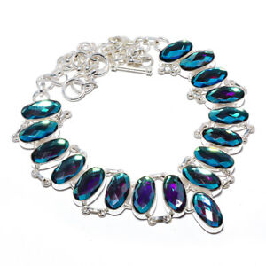 "Black Rainbow Mystic Topaz 925 Sterling Silver Handmade Necklace 17.99"" N1672-22"