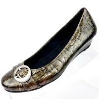 Dr Scholls Womens Size 6.5 M Flats Metallic Brown Wedge Slip On Casual Shoes