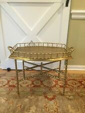 Brass Faux Bamboo TRAY TABLE Hollywood Regency SO CHIC