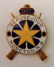 Vintage Beausejour Curling Club Moncton New Brunswick Canada Enameled Pin 1957
