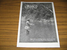 1921 Vintage Ad Bristol Steel Fly Fishing Rods Man Fishes in Stream Willow Creel
