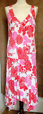 Red White and Pink Sleeveless Midi Dress -  Mariella Rosati - Size 16
