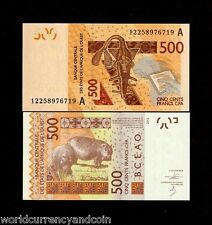 IVORY COAST 500 FRANCS 2012 2013 ANTELOPE HIPPO UNC WEST AFRICAN STATES CURRENCY
