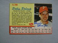 ROBIN  ROBERTS  Hall of Fame Great  Signed 1962 Post Cereal Card (Died in  2010)