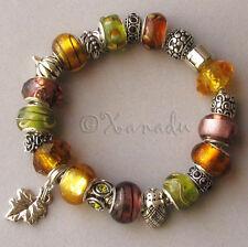 Golden Autumn European Style Charm Bracelet - Gold Green Amber Fall Themed Beads
