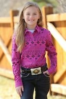 Cruel Girl Girls Fuchsia & Black Aztec Print Snap Up Western Shirt CTW3220012