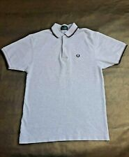 Marl Grey Twin Tipped Navy/Red Fred Perry Polo Shirt -Made In England-Mens XS