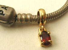 GENUINE 9K  9ct  SOLID YELLOW  GOLD  CHARM  BEAD  with  GARNET DROP