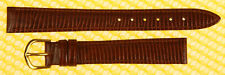 14mm HADLEY-ROMA Padded Leather Watch Strap Band BROWN Lizard-Grain <NWoT>