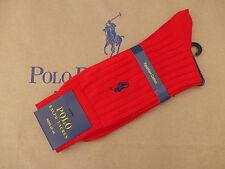 Ralph Lauren Algodón Egipcio De Lujo Rojo Calcetín Med Acanalado 1 par 43-46 Calcetines BNIP