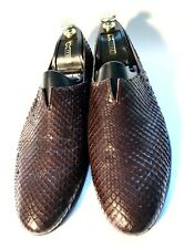 Giorgio Armani Brown Python Leather Shoes Loafers Size 43, UK-9, US-10