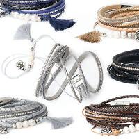 Wickelarmband Armband Damen Perlen Strass Anhänger Quaste Magnetarmband Blume