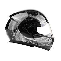 Adult Black White Swirl Modular Helmet Flip Up Motorcycle DOT Integrated Visor