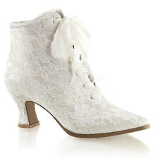 """Fabulicious Victorian-30 Women 2 3/4"""" Flaired Heel Lace up Ankle BOOTIES 10 Ivory Satin-lace"""