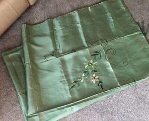 1930s Embroidered Duvet Antique Silk Vaseline Green Floral Design Double Vintage
