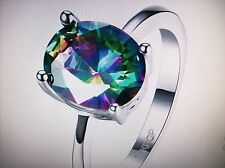 MYSTIC RAINBOW TOPAZ OVAL SOLITAIRE RING SIZE P   WHITE GOLD PLATED NWT + BOX