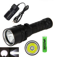 Dive 100m 5000Lm XM-L T6 LED Scuba Diving Flashlight Fishing Torch 18650 Lamp+CH