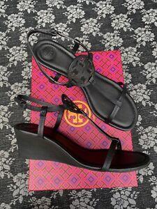 Tory Burch Miller 60mm Wedge Sandal Black Size 10 M