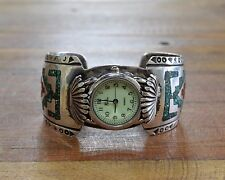 Vintage Navajo Turquoise and Coral Chip Inlay Sterling Silver Watch Cuff