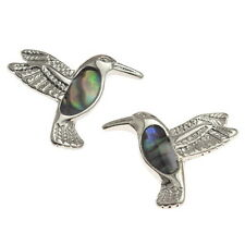 Blue Green Abalone /  Paua Shell Hummingbird Silver Stud Earrings