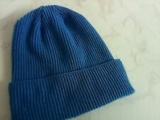 Made in Scotland Beautiful  100% CASHMERE BEANIE HAT Turquoise Blue
