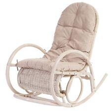 Sedia a dondolo Esmeraldas legno rattan 115x58x101cm cuscino avorio P