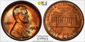 1965 LINCOLN MEMORIAL PCGS SP64+RD SMS LUSTER GEM COLOR TONED NICE APPEAL BU
