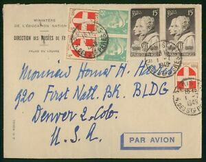 Mayfairstamps France 1949 Paris to Denver CO Airmail Cover wwp79479