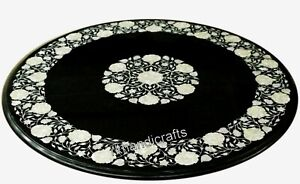 24 Inches Marble Coffee Table Top MOP Inlay Art Sofa Table with Floral Work