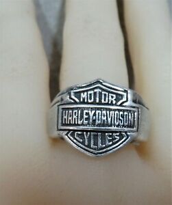 Solid Silver Harley Davidson Ring Sterling Silver Ring. Sz W.  ref xcod.
