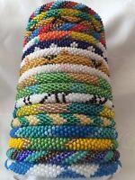Nepal Glass Beaded Hand Crocheted Bracelets - Roll On!