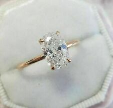 14Carat Rose Gold Fn 2.12 Ct Oval Simulated Moissanite Engagement Solitaire Ring