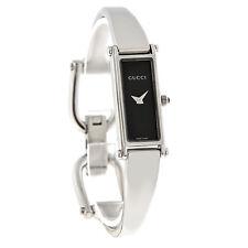 Gucci 1500 Series Ladies Black Dial Bangle Bracelet Swiss Quartz Watch YA015516