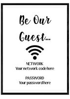 Personalised Wifi Password Print Wall Art Poster Sign Home Decor Typography