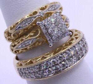 18K Yellow Gold Filled Princess White Sapphire Wedding Jewelry Rings Set (3Pcs)