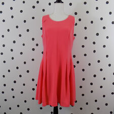 Elle Womens Fit and Flare Dress 16 Open Back Coral NWT