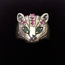 Fine Sterling Silver Emerald & Ruby Gemstone Majestic Cat Face Ring size Q 1/2