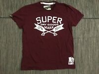 Superdry Mens XL Graphic Tee T Shirt Super Dry Goods Burgandy Cotton