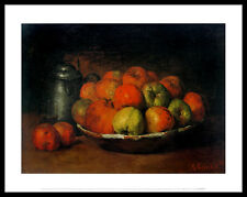 G Courbet Still Life with Apples and a Pomegranate Poster Kunstdruck und Rahmen