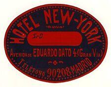 Hotel New-York sevilla Spain * Old luggage Label maleta pegatinas